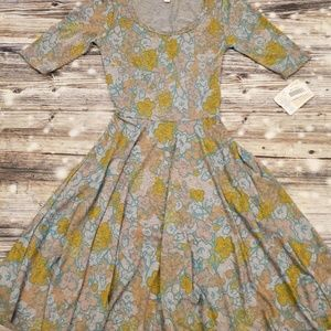 Lularoe Nicole Dress XXS Gray Floral Multicolor